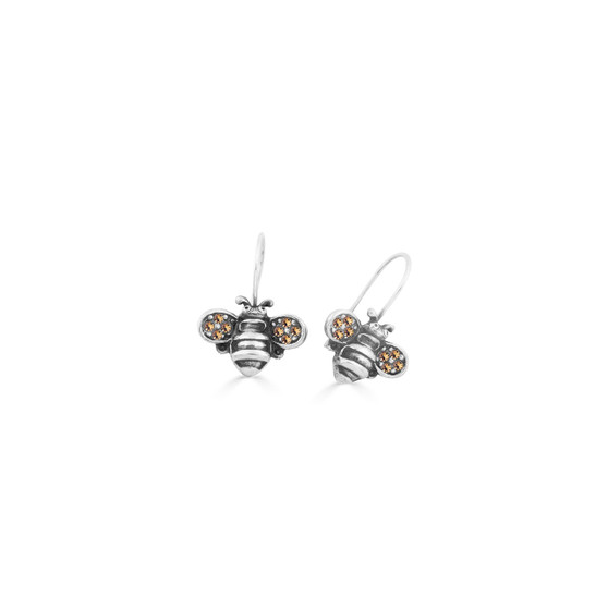 Light Colorado Topaz Bumble Bee Drop Earrings - Burnished Silver / Handmade / Bee Earrings / Gifts For Her / Bee  Lovers Jewellery / Gift Ideas