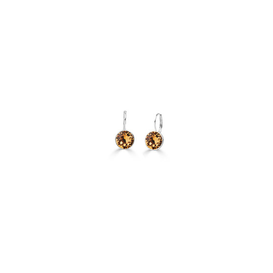 Light Colorado Topaz Petite Glam Rock Drop Earrings - Burnished Silver / Swarovski Crystal Earrings / Lever back Clasp Fastening / Everyday Earrings / Statement Jewellery / Gifts For Her