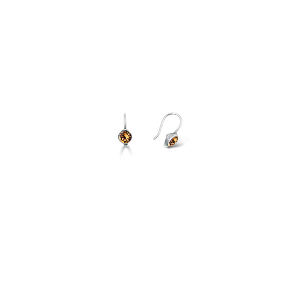 Light Colorado Topaz Petite Ellie Drop Earrings - Burnished Silver / Minimalist Drop Earrings / Swarovski Crystal / Everyday Jewellery / Gifts For Her