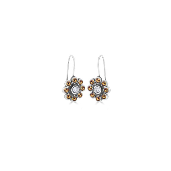Light Colorado Topaz & Crystal Bold Forever Flowers Drop Earrings - Burnished Silver / Flower Drop Earrings / Swarovski Crystal /  Floral Jewellery / Gifts For Her