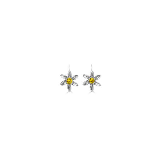 Sunflower Petite Blossom Earrings - Burnished Silver / Flower Earrings / Swarovski Crystal /  Floral Jewellery / Gift For Her