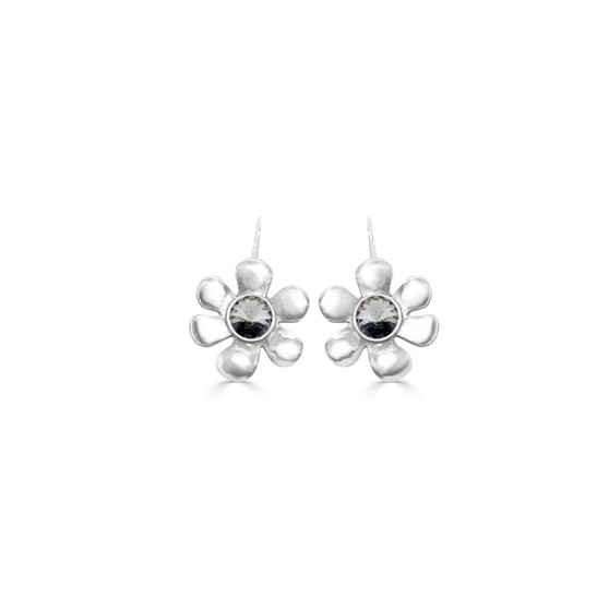 Black Diamond Daisy Drop Earrings - Burnished Silver / Flower Earrings / Daisy Jewellery / Swarovski Crystal / Floral Jewellery / Gift Ideas