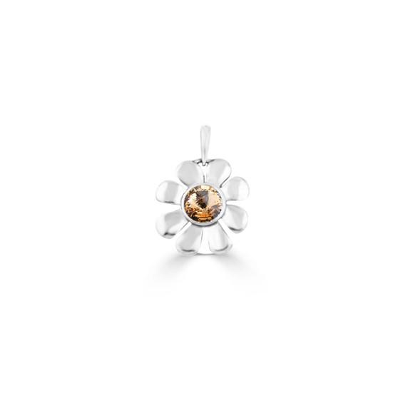 Light Colorado Topaz Daisy Pendant - Burnished Silver / Flower Pendant / Daisy Jewellery / Swarovski Crystal / Floral Jewellery / Gift Ideas