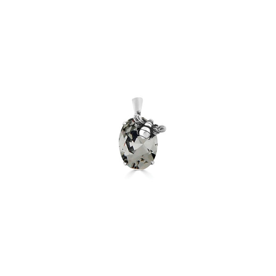 Black Diamond Bumble Bee Oval Crystal Pendant - Burnished Silver / Swarovski Crystal / Handmade / Gifts For Her / Botanical / Bee  Lovers Jewellery / Gift Ideas