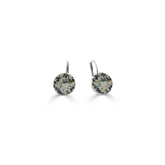 Black Diamond Bold Glam Rock Drop Earrings - Burnished Silver / Swarovski Crystal Earrings / Lever back Fastening