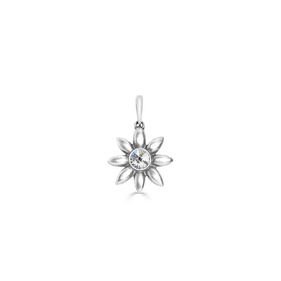 Garden Flower Pendant - Burnished Silver / Flower Pendant / Swarovski Crystal / Floral Jewellery / Gift Ideas