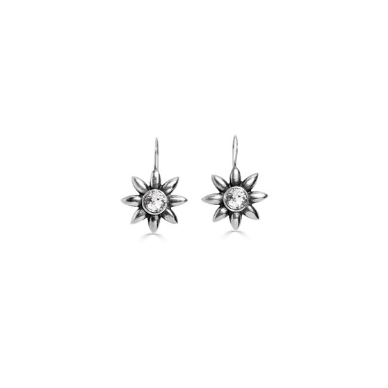 Garden Flower Drop Earrings - Burnished Silver / Flower Drop Earrings / Swarovski Crystal /  Floral Jewellery / Gifts For Her