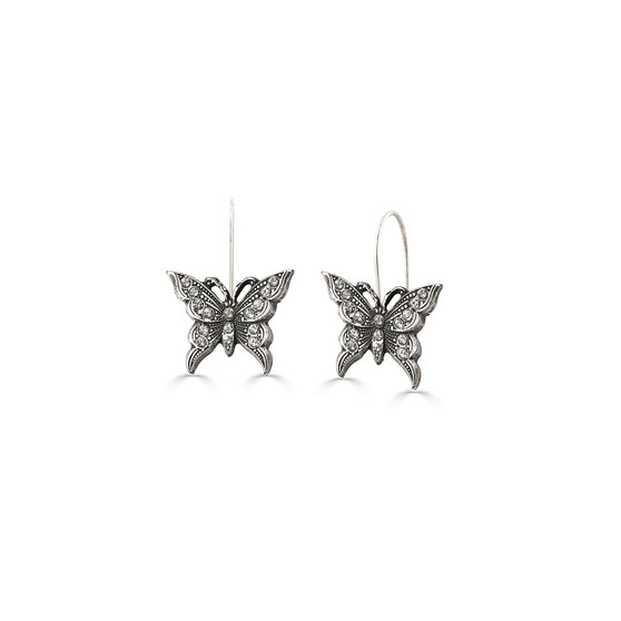 Take Flight Butterfly Crystal Drop Earrings - Burnished Silver / Swarovski Crystal / Handmade / Botanical / Gifts For Her / Butterfly Jewellery / Gift Ideas