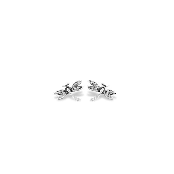 Dragonfly Stud Earrings - Burnished Silver / Swarovski Crystal / Botanical / Everyday Jewellery / Minimalist Earrings / Dragonfly Jewellery / Gifts For Her