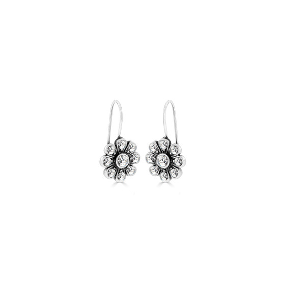 Bold Forever Flowers Drop Earrings - Burnished Silver / Flower Drop Earrings / Swarovski Crystal /  Floral Jewellery / Gifts For Her