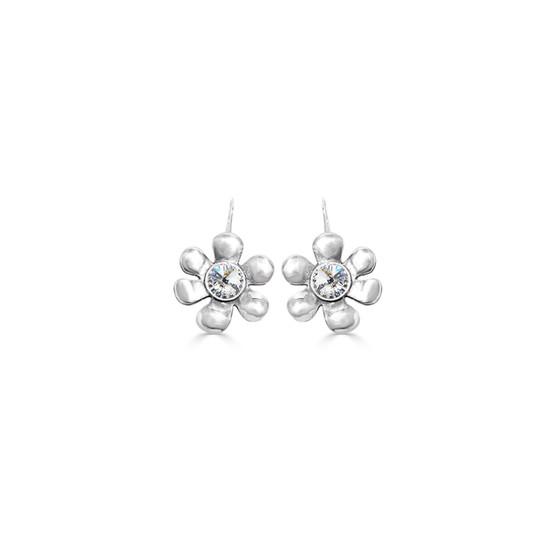 Daisy Drop Earrings - Burnished Silver / Flower Earrings / Daisy Jewellery / Swarovski Crystal / Floral Jewellery / Gift Ideas
