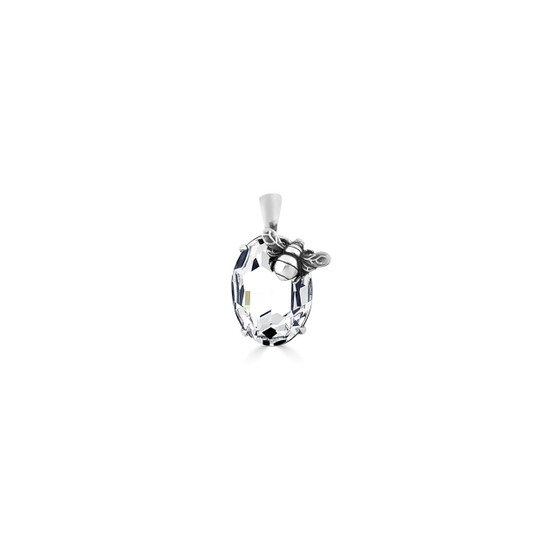 Bumble Bee Oval Crystal Pendant - Burnished Silver / Swarovski Crystal / Handmade / Gifts For Her / Botanical / Bee  Lovers Jewellery / Gift Ideas