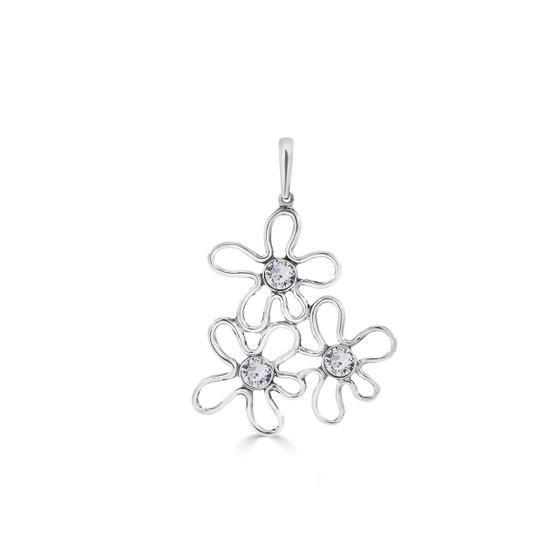 Floating Cosmos Pendant - Burnished Silver / Flower Pendant / Swarovski Crystal /  Boho / Floral Jewellery / Gift Ideas
