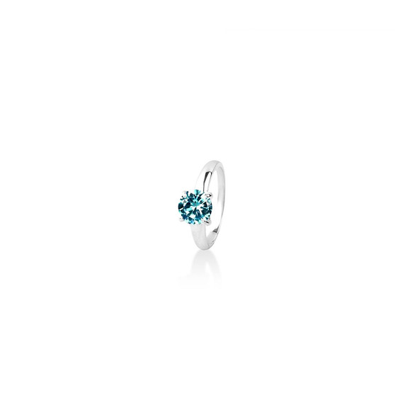 Aquamarine  ( March ) Bold Solitaire Ring - Sterling Silver 925