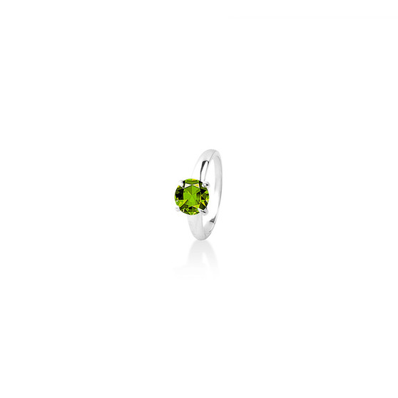 Peridot (August) Bold Solitaire Ring - Sterling Silver 925