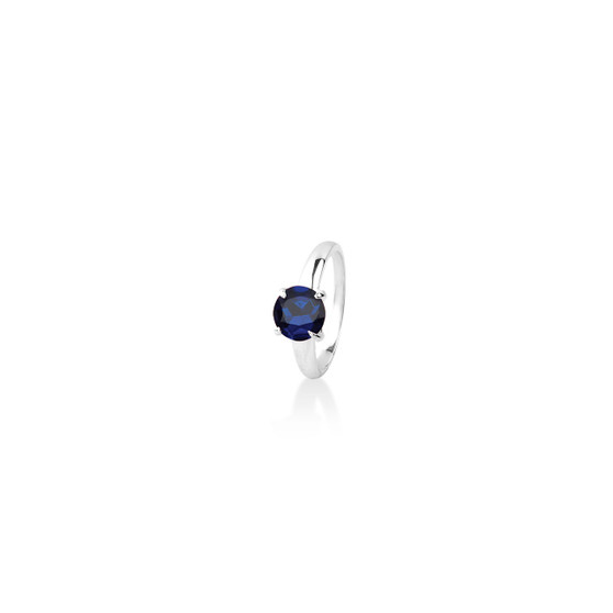 Sapphire (September) Bold Solitaire Ring - Sterling Silver 925