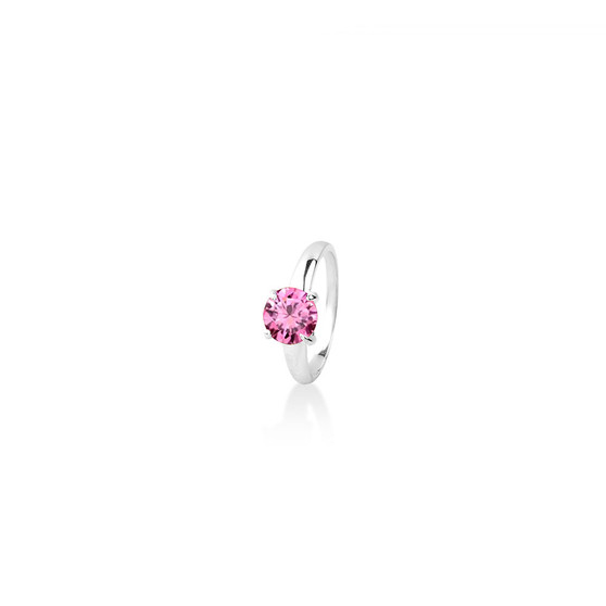Pink Tourmaline (October)  Bold Solitaire Ring - Sterling Silver 925