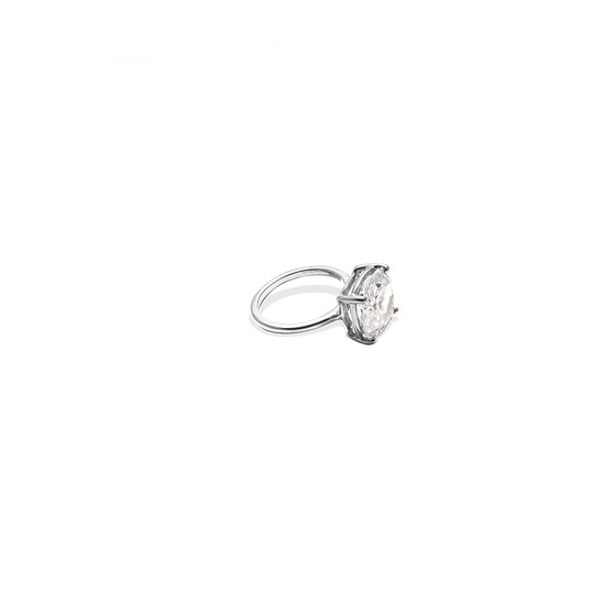 Cushion-Cut Cubic Zirconia Stackable Ring in Sterling Silver 925