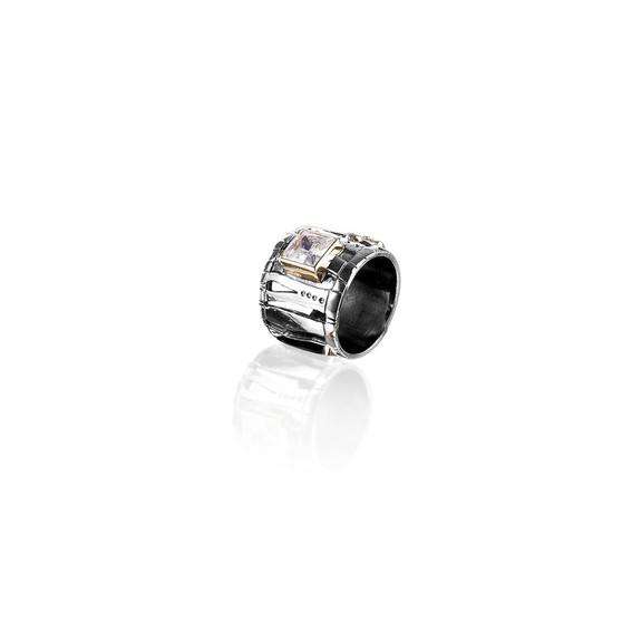 Zebra Safari Ring - Sterling Silver 925 ∙ 9ct Gold