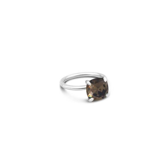 Smokey Quartz Starlight Cushion-Cut Ring in Sterling Silver 925