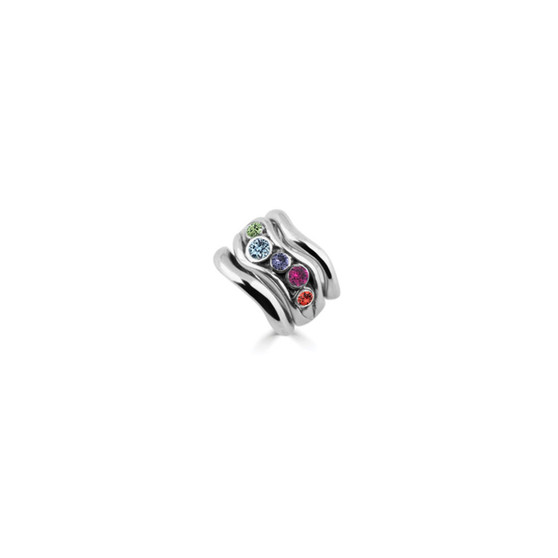 Rainbow Expression Icon Ring Set In Sterling Silver 925