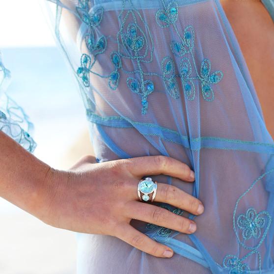 Summertime Blue Light Azure Sterling Silver Ring