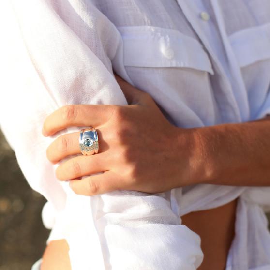 Ocean Beauty Light Azure Sterling Silver Ring
