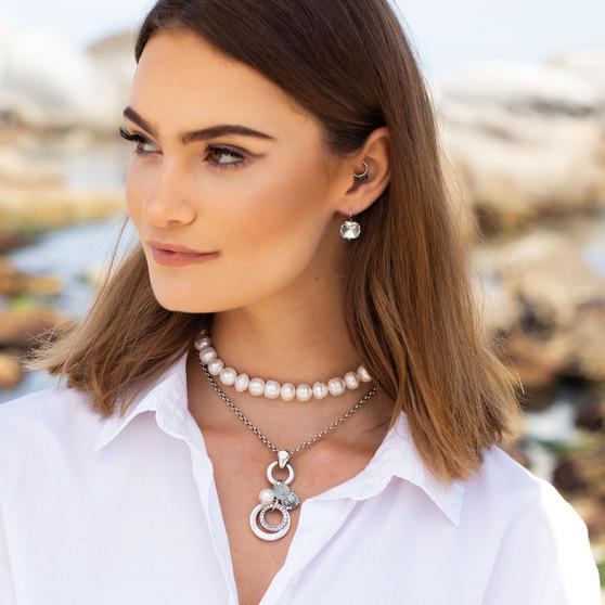 Summer Blue Light Azure Huggie Drop Earrings - E4885 - £45 Ocean Beauty Pearl Necklace - N2116 44cm - £160 Love To Layer Necklace - N2071 S -40cm - £25