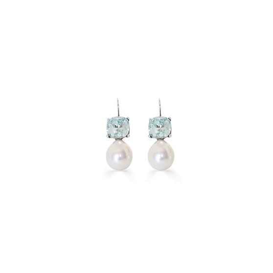 Summertime Blue Pearl Drop Earrings
