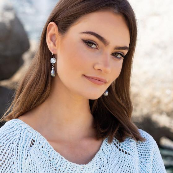Ocean Beauty Light Azure Pearl Drop Earrings