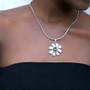 Black Diamond Daisy Pendant - Burnished Silver / Flower Pendant / Daisy Jewellery / Swarovski Crystal / Floral Jewellery / Gift Ideas