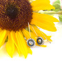 Sunflower Earring Threads - Burnished Silver / Earring Threads / Minimalist / Floral Jewellery / Sunflower Jewellery Gifts