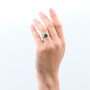 Emerald  (May) Bold Solitaire Ring - Sterling Silver 925