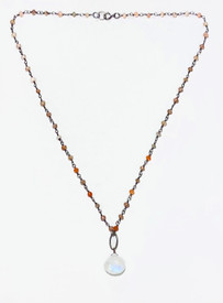 Moonstone Hope Necklace, with Andalusite Garnet and Carnelian