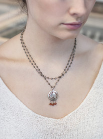 Silver and Pyrite Lotus Necklace