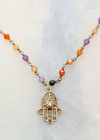 Protection Necklace, Hamsa Charm on Long Chain