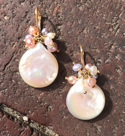 Coin Pearl Cluster earrings!