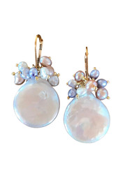 Large Coin Pearl Cluster Earrings
