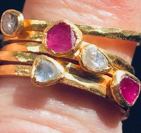 Diamond and Ruby Rings in 18K