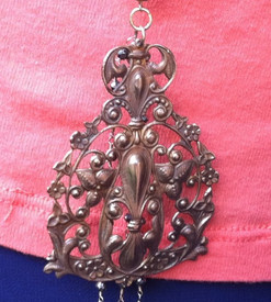 Parisian Medallion Long Brass Necklace