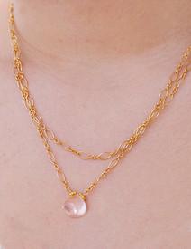 Rose quartz briolette cut especially for Pam Older Designs!