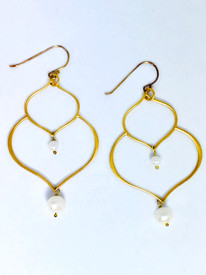 Large gold and pearl Earrings accented with pearls!