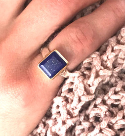 Emerald Cut Lapis Ring