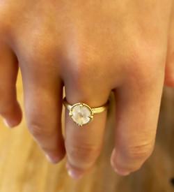 14k Moonstone Rose Cut  Ring