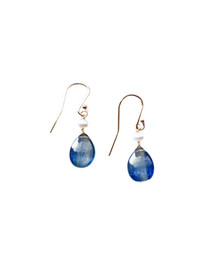 Kyanite  and Pearl earrings