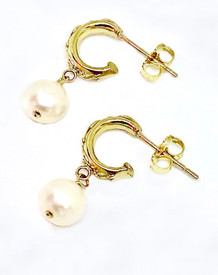 round white pearls on small hoops