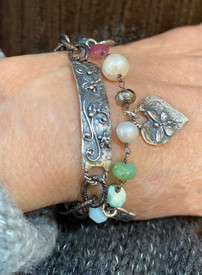Chrysoprase,Pink Sapphire and pearls.