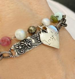 Three Charm Message of Love Silver Bracelet
