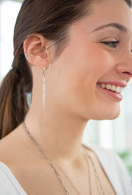 long diamond earrings on a hoop!
