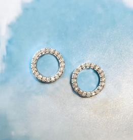 Tiny  Diamond Circle Earrings